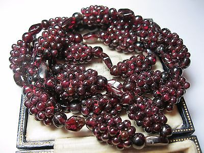 Superb Heavy VINTAGE Natural Bohemian Red GARNET Stone BEAD NECKLACE LONG 96.82g