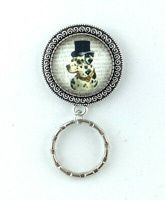 Dalmation Dog with Top Hat Dictionary Art Magnetic Badge Eyeglass Holder