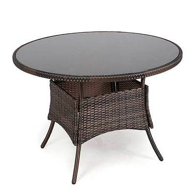 Round Rattan Table Glass Top Outdoor Decor Garden Furniture Patio Dining Tables