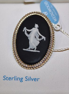 Wedgwood ~ Black Jasper ~ Sterling Silver ~ Muse Design ~ Brooch ~ New & Boxed