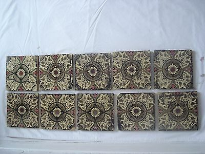 Original Set Of 10 X Victorian Fireplace Tiles - Browns