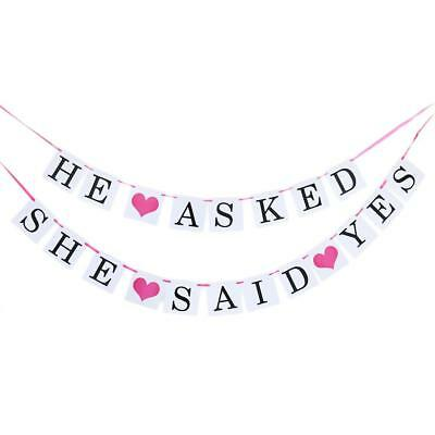 Wedding Engagement Party HE ASKED SHE SAID YES Hearts Hanging Banner Decor