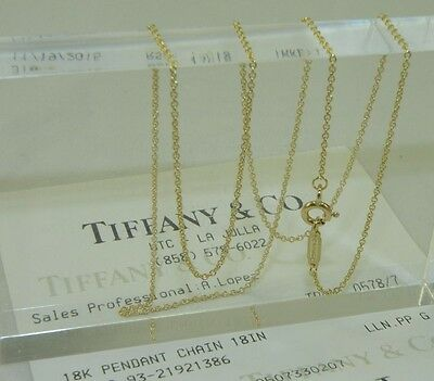 "New Tiffany & Co 18K Yellow Gold Chain Necklace 18"" Long"