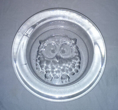 "Vintage 1982 Dartington Crystal Glass Frank Thrower ""Owl"" Ashtray (Unboxed)"