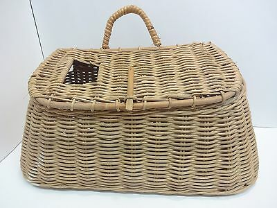 Vintage Woven Wicker Trout Basket Fly Fishing Creel No Leather Shoulder Belt