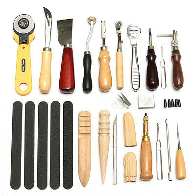 19 Leather Craft Punch Tools Stitching Carving Working Sewing Saddle Groover Kit