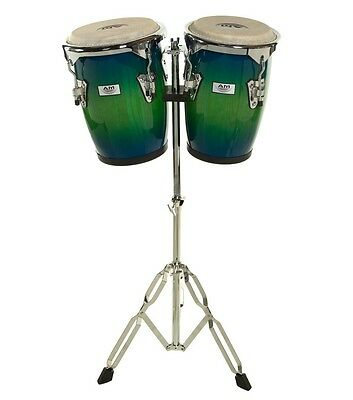 "AM Percussion Commodore 9"" 10"" Conga Set Blue Green with Stand FREE SHIPPING"