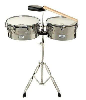 """AM Percussion Libre 13"""" 14"""" Timbale Drum Set Kit with Stand and Cowbell DRM-TIM"""