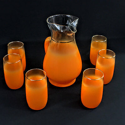 West Virginia Glass Frosted Orange Blendo Pitcher