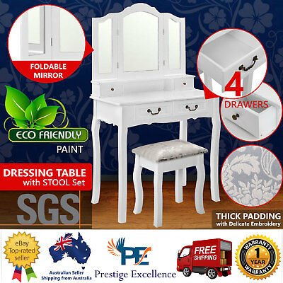White Dressing Table with Mirror and Stool Set 4 Drawer Dresser Makeup Organizer