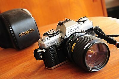Early 80s Minolta X-500 Film Camera with 35-70mm MD Zoom lens/ Japan