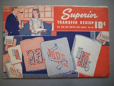Superior His Hers Mr Mrs embroidery transfer unused