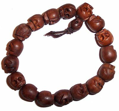 TIBETAN WOOD CARVED SKULL BRACELET Buddhist Mala Prayer Beads Gothic Goth Unisex