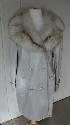 Vintage Light Gray Leather and Genuine Fur Collar Women's Coat Jacket Beautiful