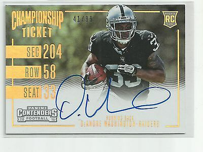 2016  CONTENDERS  DeANDRE WASHINGTON SP #41/99  ROOKIE AUTO CARD RC RAIDERS # 1