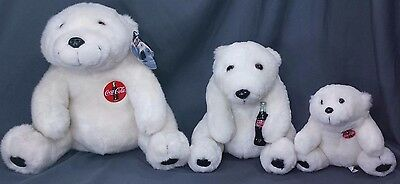 Vintage Coca Cola Bears Plush Lot Of 3 All Different Sizes 1993 And Whataburger