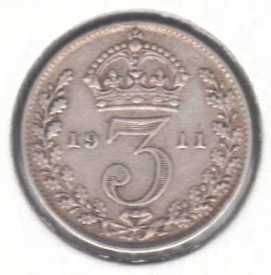 United Kingdom 3d Threepence 1911 Silver (.925) Coin