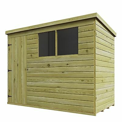 PRESSURE TREATED T&G WOODEN SHIPLAP 8 x 6 GARDEN PENT SHED *W/ 2 WINDOWS RIGHT*