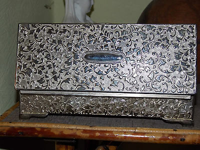 """Vintage Heavy Silver Plate Jewellery Box - Embossed, New-Rococo Style 8.9"""" Width"""