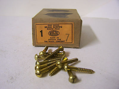 """#7 x 1"""" Round Head Brass Wood Screws Slotted Solid Brass Made in Sweden Qty. 144"""