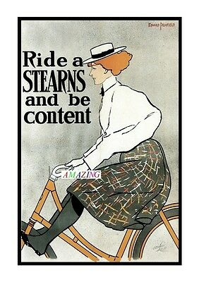Vintage Style American Bicycle Advertising Poster: Ride A Sterns & Be Content