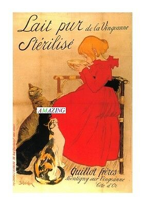 Vintage Style French Art Nouveau Advertising Poster: Sterilised Milk: A4