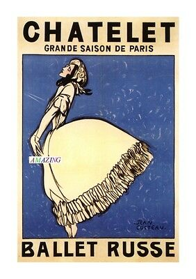 Vintage Style French Art Nouveau Advertising Poster: Ballet Russes - Chatelet