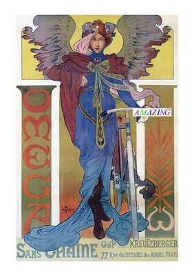 Vintage Style French Art Nouveau Advertising Poster: Omega Cycles Sans Chaine A4