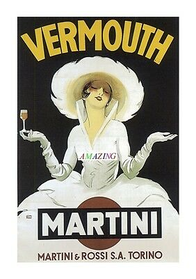 Vintage Style French Art Nouveau Advertising Poster: Martini Rossi Vermouth: A4