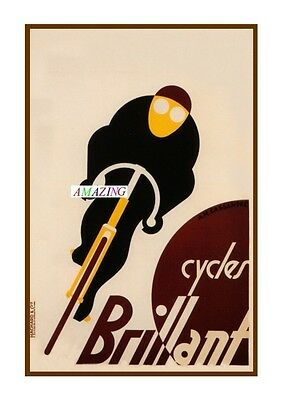 Vintage Style French Art Nouveau Advertising Poster: Cycles Brilliant: A4
