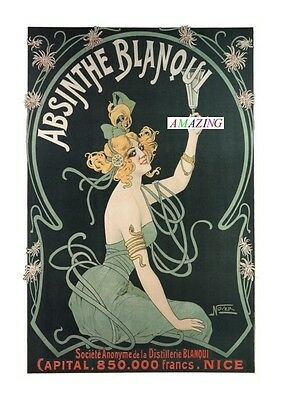 Vintage Style French Art Nouveau Advertising Poster: Absinthe Blanqui : A4