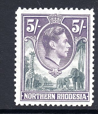 Northern Rhodesia (947)  1938 King George V1  5/-  Grey and Dull Violet Sg43 VLM