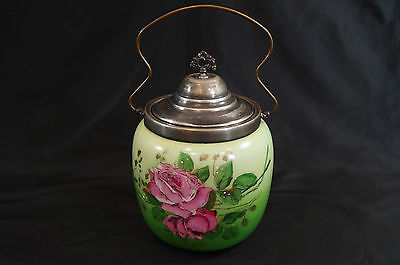Victorian Hand Painted Green With Pink Roses Glass Biscuit Jar
