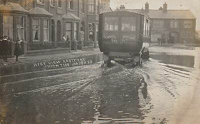 RP Postcard. Old Bus in Floods, Wyre View. KNOTT END. 1923.