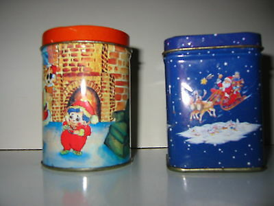 vintage christmas candles tins x 2.. tin candles.