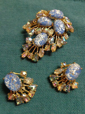 Signed Schiaparelli Exquisite Vintage Large Brooch and Clip-on Earrings Set