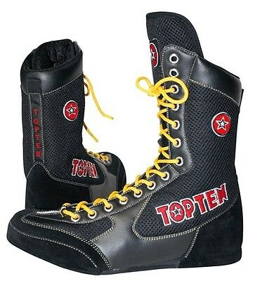 TOP TEN Boxer boots Boxstiefel Boxer shoe Boots Shoes Boxes black red new
