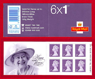 GB Stamps. 2015 6 x 1st Class Booklet. Long To Reign Over Us. O15R. Mint. #1959