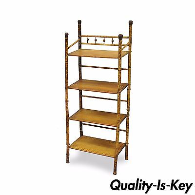 "49"" H English Victorian Burnt Pyrography Bamboo Stand Etagere Bookcase Shelf"