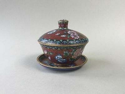Small Cloisonne Lidded Bowl with Dish / Plate