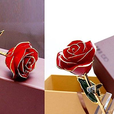 Valentines Gift Real Red Rose 24k Gold Dipped Flower Love Decor Surprise Romance