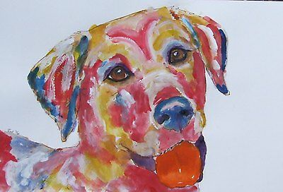 ORIGINAL Signed CONTEMPORARY ABSTRACT MODERN ART DECO DOG PAINTING
