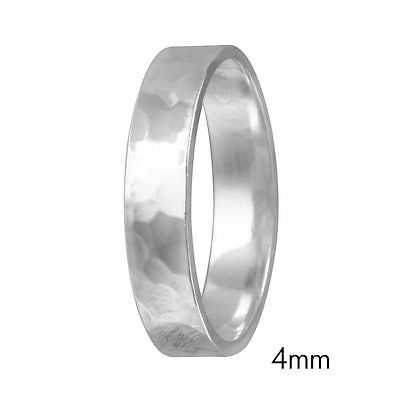 4mm Men & Women Sterling Silver Hand Hammered FLAT Wedding Band Ring