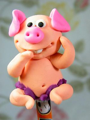 Polymer Clay Lovely Piggy Figurine Act On Top Of Wooden Pencil Novelty Fun #02