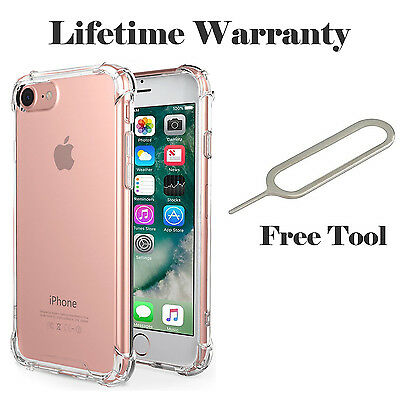 For Apple iPhone 6 6s 7 Plus Case Silicone Clear Cover Bumper Rubber Protective.