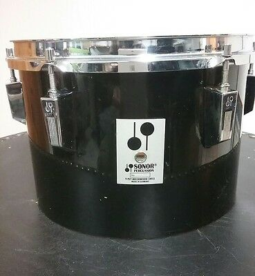 """SONOR Phonic Black 12"""" concert tom, Silver Badge"""