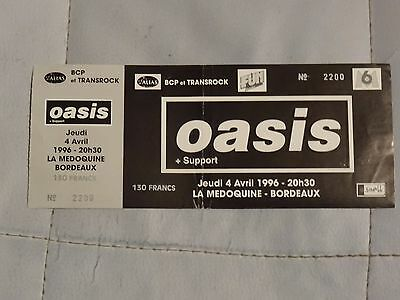 OASIS Bordeaux France VERY Rare cancelled gig unused Ticket stub 4th April 1996