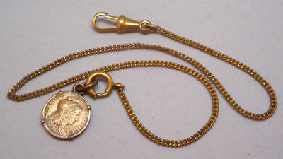 Antique Victorian Pocket Watch Chain with Coin Fob