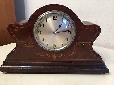 Beautiful Antique English Inlaid Desk Or Mantle Clock ABEC Movement