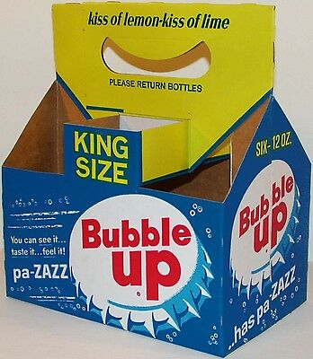 Vintage soda pop bottle carton BUBBLE UP has pa ZAZZ bottle cap pictured n-mint